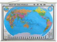 世界地图挂图2015最新精品挂绳中英文对照地图1.5米x1.1米亚膜防水不反光
