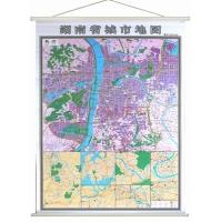 长沙地图挂图+湖南省地图挂图2015新版正反面印刷挂绳精装高清印刷1.4米*1米