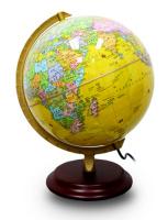 32CMPVC中英文政区海洋黄版地球仪(灯光型)(铝合金支架、实木底盘)