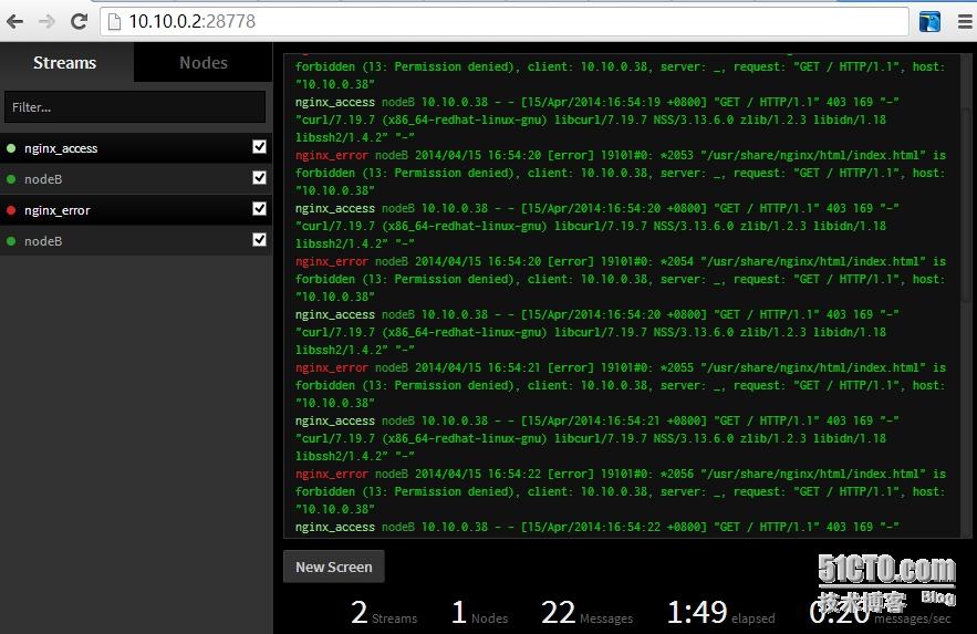 CentOS下安装log.io实时日志监控服务器