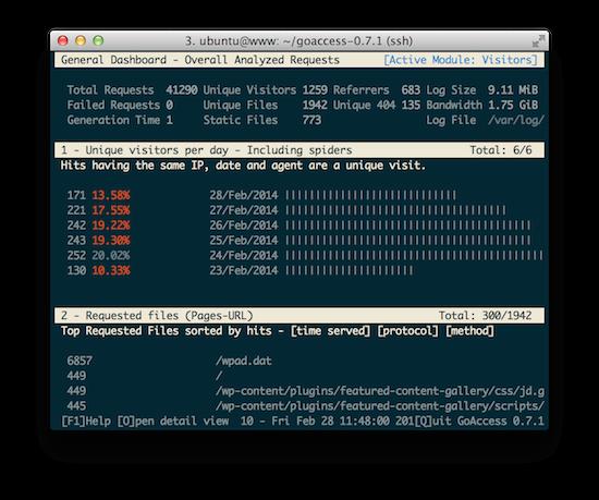 CentOS 6.5 上安装编译 GoAcces