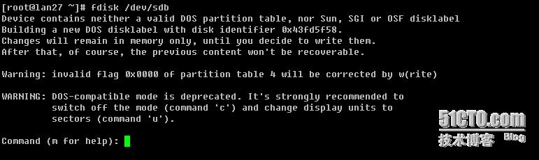 CentOS下添加新硬盘并分区格式化